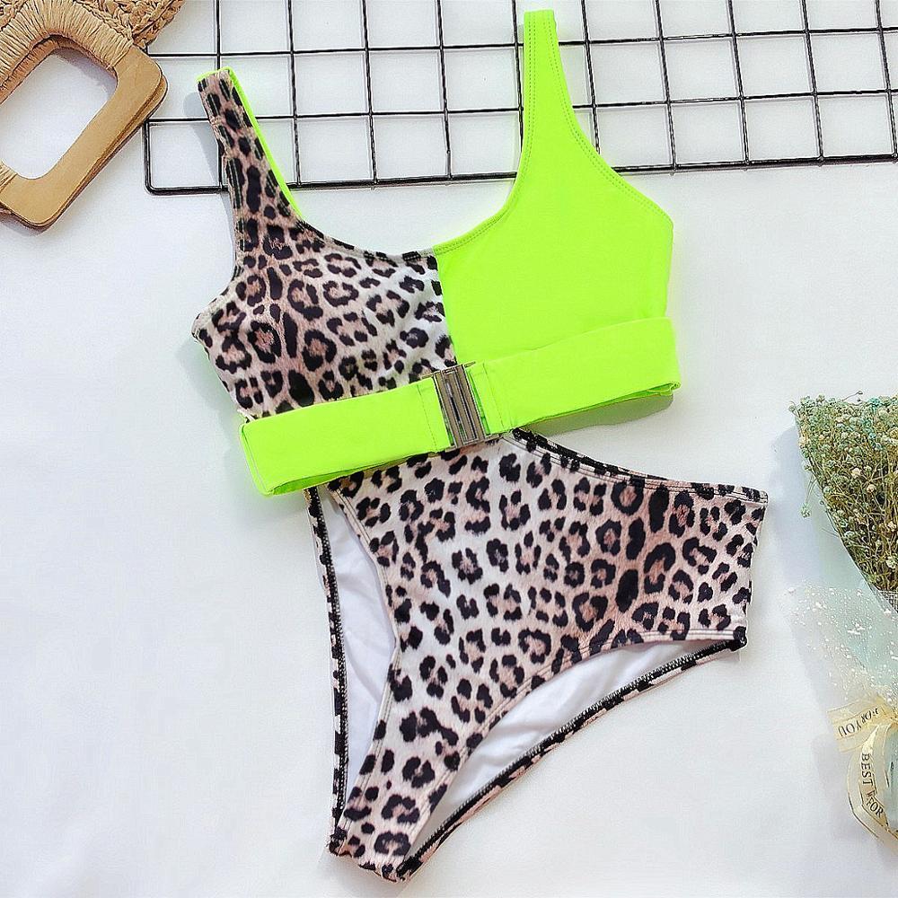 Sexy Leopard Bikini Set 2020 New High Waist Swimwear Women Swimsuit Neon Biquini Mujer Push Up Bathing Suits Beach Swim Tankini 4