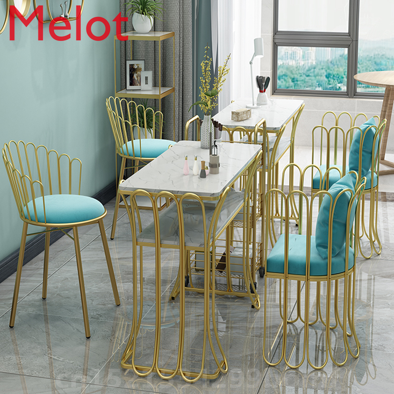 Nordic Golden Nail Chairs Simple Bedroom Sofa Cafe Chair Art Dining Table Room Chairs Salon Furniture Nail Table Manicure Table