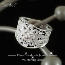 Women Rings Engagement-Ring Flower Luxury Jewelry Boho Miao Silver 999-Sterling-Silver