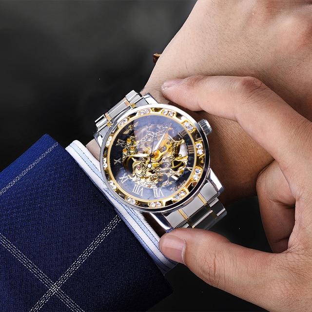 Winner Transparent Fashion Diamond Luminous Gear Movement Royal Design Men Top Brand Luxury Male Mechanical Skeleton Wrist Watch 5