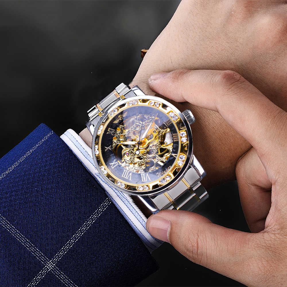 Reloj de pulsera con esqueleto mecánico para hombre de lujo de marca superior de diseño real con movimiento luminoso Diamante de moda transparente ganador