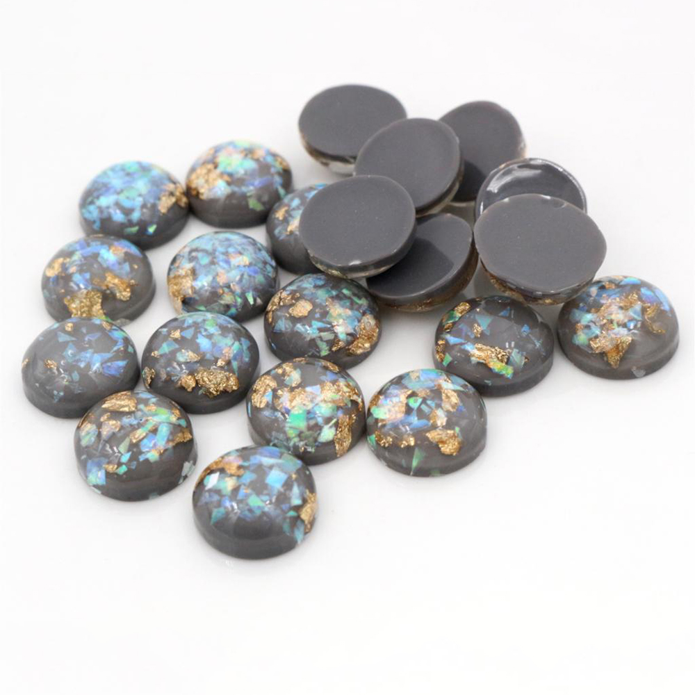 New Fashion 40pcs 8mm 10mm 12mm Gray Colors Built-in Metal Foil Flat Back Resin Cabochons Cameo