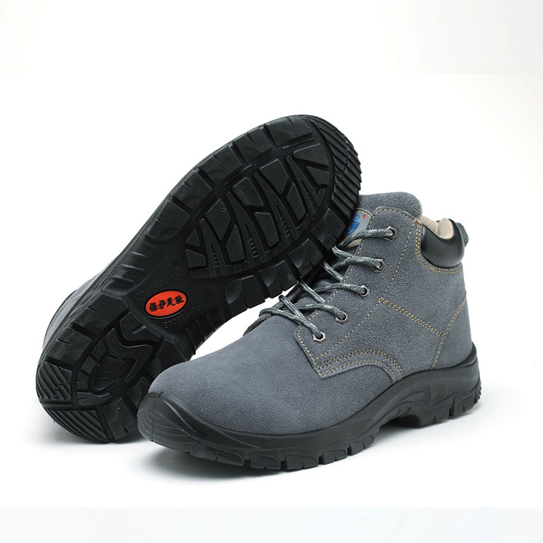 Gu Bont Anti-wool Leather Steel Header Shoes Gray Factory Workshop Smashing Stab PU Bottom Safety Shoes Wholesale
