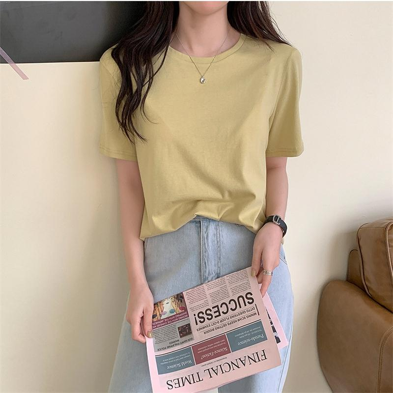 H.SA Women Summer T-Shirt Pure Cotton Loose Tee Tops Solid Color Casual Tshirts Girls Candy Color Summer Tops Korean O Neck Tees