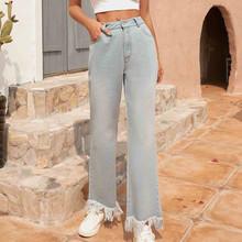 Nowe spodnie 2020 dżinsy damskie Tassel Denim dżinsy z suwakiem spodnie luźne spodnie proste spodnie kobieta dżinsy wysokiej talii dżinsy tanie tanio ISHOWTIENDA Poliester Pełnej długości Sexy Bandage Cut Off High Waist Denim Jeans Shorts Mini Pants Bottom High Street
