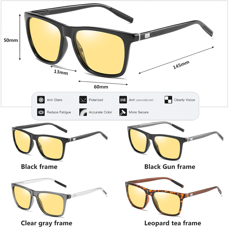 Image 5 - Square Brand Discoloration Sunglasses Polarized Women HD Photochromic Glasses For Day Night Vision Driving Men Sun Glasses UV400Womens Sunglasses   -