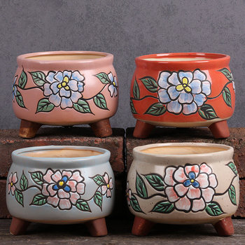 Flower Pot Peony Flower Ceramic pot  succulent pot Garden decorative nursery pot balcony bedroom planting plants classic pot for planting