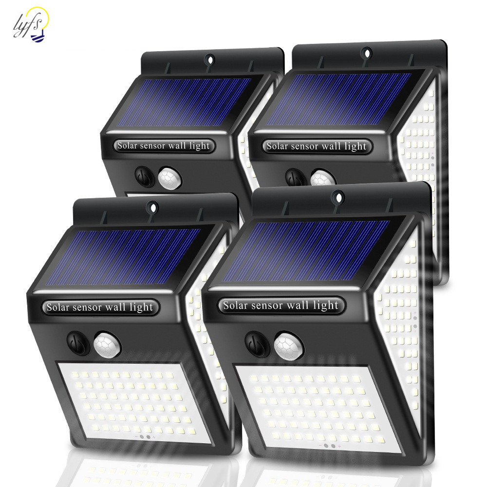 100/140 LED Solar Wall Lamp PIR Motion Sensor Outdoor Waterproof Lamp Villa Rural Garden Decoration 3 Sided Luminous Solar Light