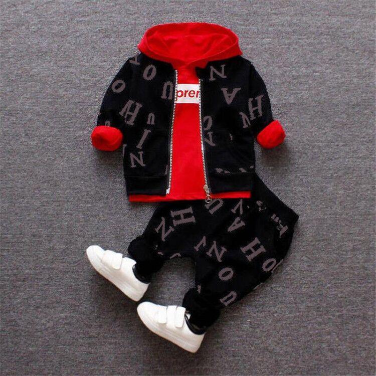 Комплекты одежды для маленьких мальчиков весенне-осенние модные хлопковые пальто для новорожденных + Топы + штаны, спортивные костюмы из 3 п...