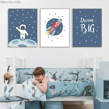 Space Rocket Prints Moon Illustration Posters Nursery Art Wall Decor Scandinavian Canvas Painting Pictures Kids Room Decoration(China)