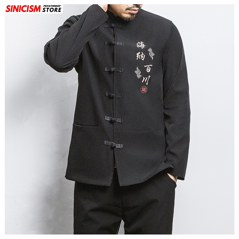 Sinicism Store Mens Oversize Casual Jacket Men Chinese Style Jackets Top 2020 Male Autumn Thicken Traditional Buckle Coat 5XL
