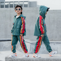 Foreign Trade Boys Loose Casual Clothing Set Children's Stripe Spliced Clothes Kids Hood Trench Coat + Pants 2 Pcs Twinset B271
