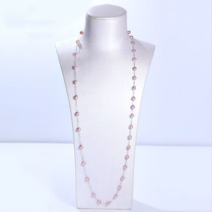 Image 5 - DMCNFP007 7 8mm Long Pearl Necklace 925 Sterling Silver Sweater Chain Necklace For Women