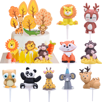 Forest Jungle Party Cake Topper Cartoon Fox Lion Felt Tree Animal Cupcake Toppers For Baby Shower Kids Birthday Cake Decoration stitch animal birthday cake topper kids toys boys baby children birthday party small gifts decoration party cupcake toppers