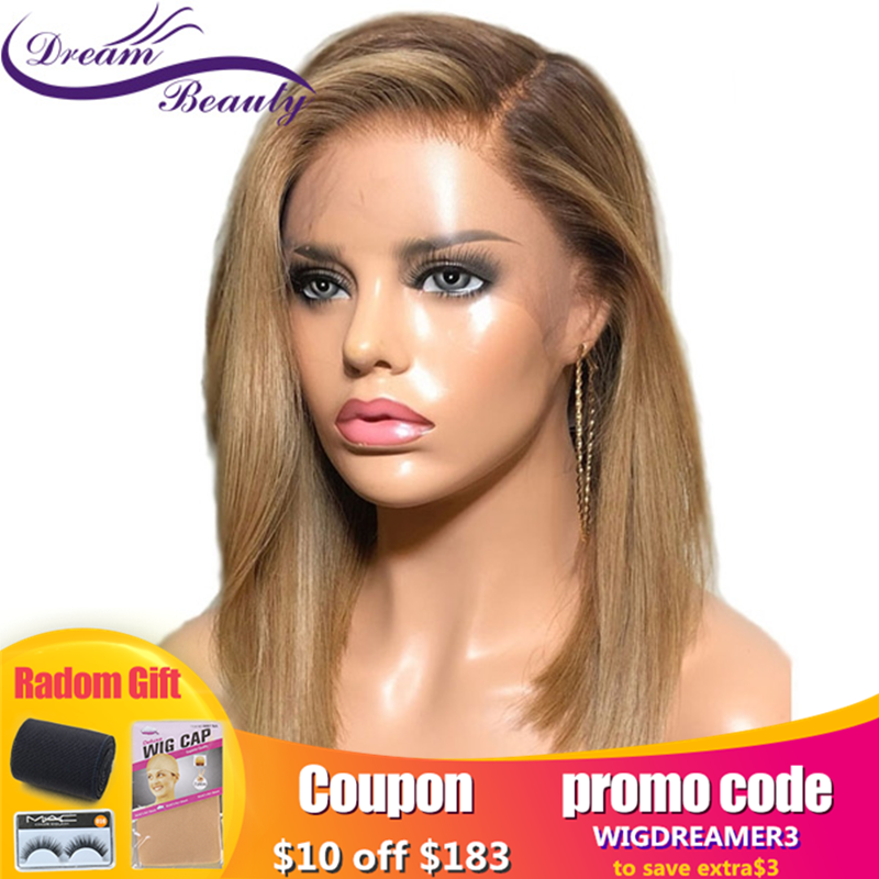 Dream Beauty 13x6 Bob Lace Front Wig Ombre Human Hair With Baby Hair Straight Pre Plucked Remy Lace Front Human Hair Wigs