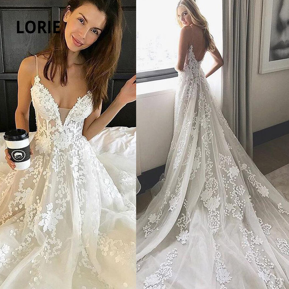 LORIE Long Train Wedding Dresses Lace Appliqued Soft Tulle Bridal Gowns Sexy V-neck Spaghetti Strap Wedding Party Dress Plus Siz
