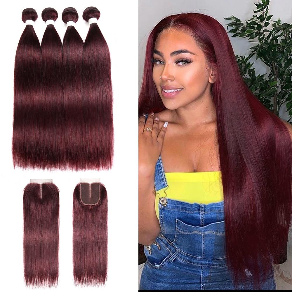99J/Burgundy Brazilian Straight Human Hair Bundles With Closure 4x4 KEMY HAIR 4PCS Pre-Colored 100% Human Hair Weaving Non-Remy