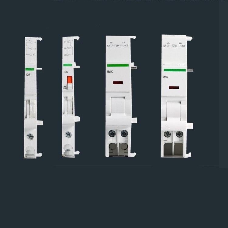 Accesorios de disyuntor Ic65 IMX + de derivación IOF auxiliar ISD Fire Release 24V 110V 220V 400V