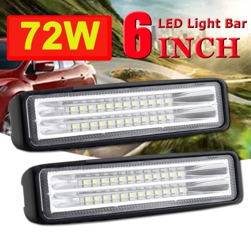 Luz de trabalho barra led offroad 12v 72w 6 Polegada luz do carro para atv suv trator motocicleta barco ônibus luz nevoeiro feixe dupla linha holofotes