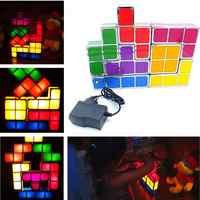 Bricolage Tetris Puzzle lumière empilable LED lampe de bureau bloc Constructible veilleuse 3D rétro jeu tour lampe bébé coloré brique jouet