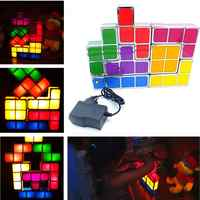 DIY Tetris Puzzle Light Stackable LED Desk Lamp Constructible Block Night Light 3D Retro Game Tower Lamp Baby Colorful Brick Toy