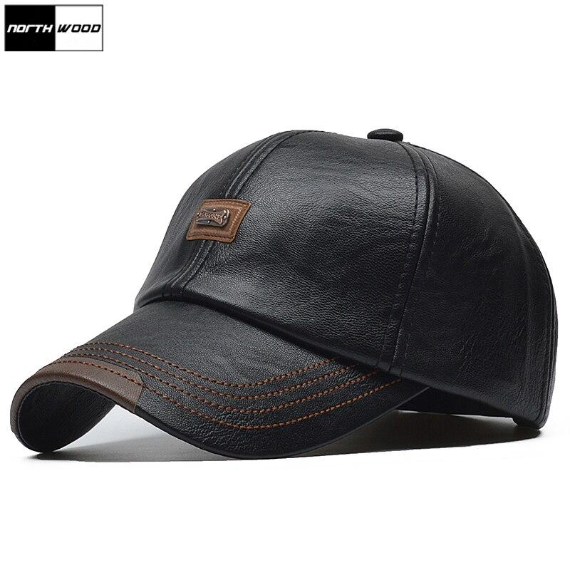 [NORTHWOOD] Brand Autumn Winter Leather Baseball Cap Men Women Gorras Planas Snapback Hat Bone Masculino PU Leather Trucker Cap