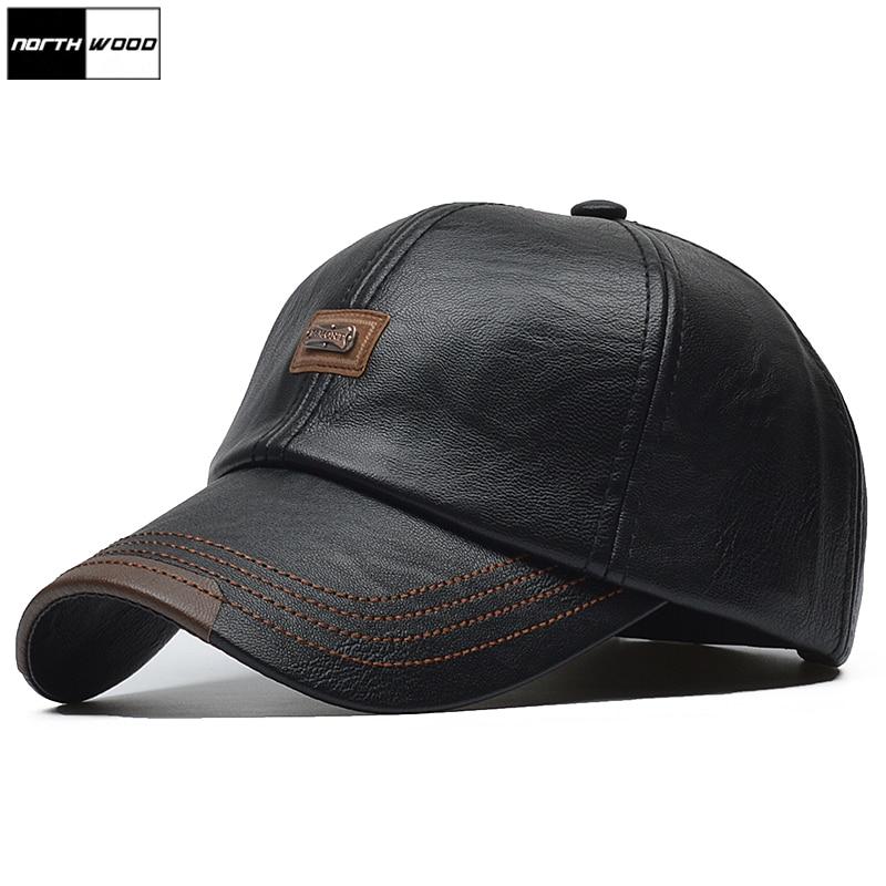[Northwood] marca outono inverno couro boné de beisebol das mulheres dos homens gorras planas snapback chapéu osso masculino couro do plutônio boné de camionista