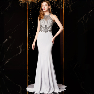 Image 3 - J18560 jancember sexy mermaid evening dress 2020 halter neck sleeveless beading lace silver evening dresses long vestido mujer