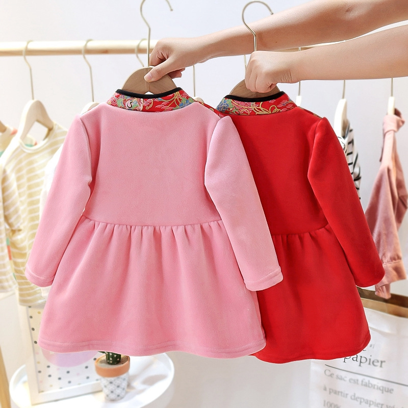 Baby Girls Cheongsam Hanfu Dress Embroidered Kids Tangsuit Children Party Outfits Qipao Kids Wedding Dress Costume Gift 4