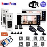 Homefong 7'' 1200TVL 2v2 WiFi Smart Wired Video Door Phone Intercom Door Entry System Doorbell Motion Record Password RFID Card