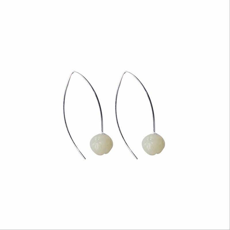 Uglyless proste moda prawdziwe srebrne kolczyki kobiet chiny Chic kolczyki lotosu 925 Sterling Silver grzywny biżuteria Jade lotosu E1813