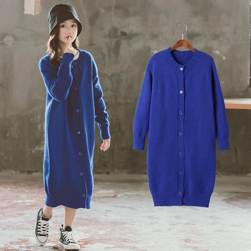 Long Knitting Button Blue Spring Winter Warm Sweater Girls Kids Plus Velvet Toddler Teens Tops Thicken Children High Quality