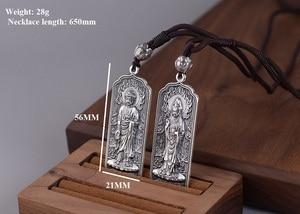Image 4 - 100% 925 Silver Tibetan Amitabha Buddha Statue Pendant Buddhist Kuanyin Pendant Tibetan Avalokitesvara Pendant Good Luck Amulet