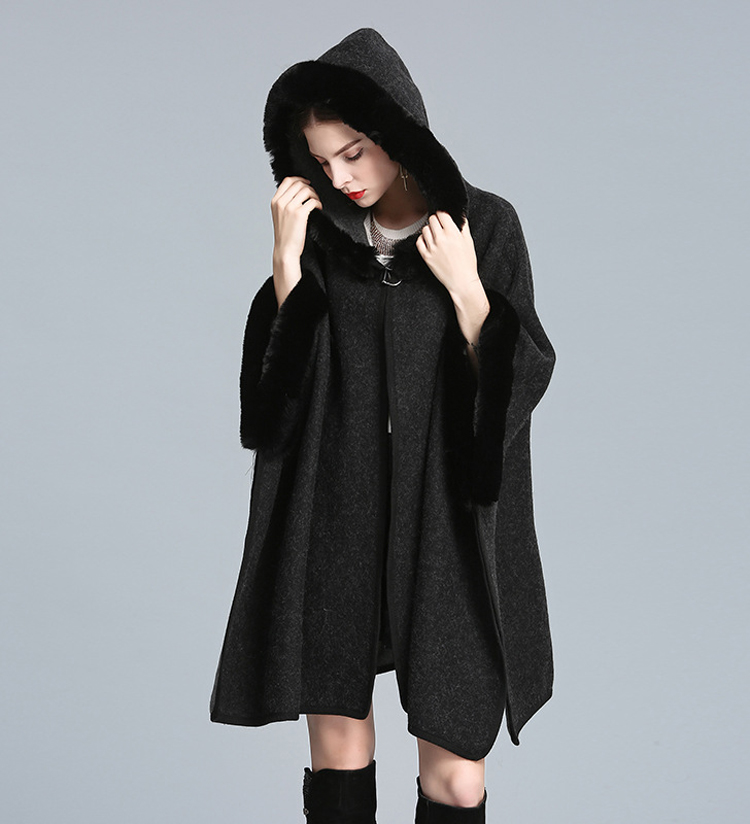Luxury New Occident Rabbit Fur Hooded Cape Cloak Overcoat Poncho Shawl Pashmina Women Autumn Winter Loose Fur Coat