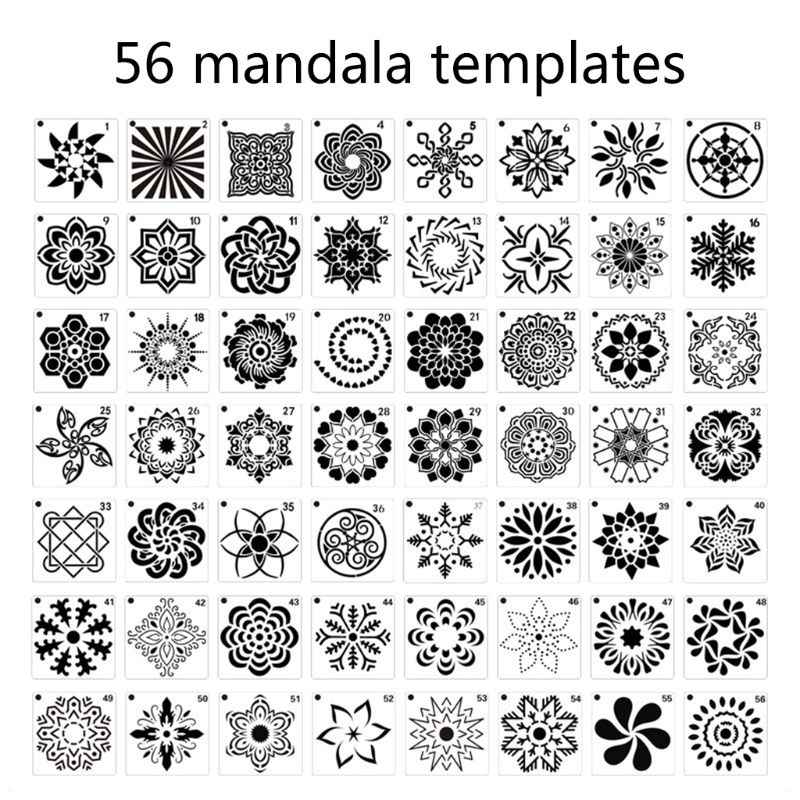 muebles de madera y /álbumes de recortes GOTONE 56 Piezas Plantillas de Mandala piedras de piedra Mandala Punteando reutilizable Plantillas de pintura Para pared de bricolaje