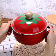 18cm 1.5L Japanese Tomato Enamel Soup Pot Stockpot Mini Saucepan Milk Egg Noodles Cooking Pan For Induction Cooker Gas Cooker цены