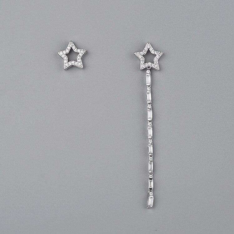 CMajor dernière S925 en argent Sterling importé 7A cubique Zircon créatif étoile asymétrie tempérament boucles d'oreilles pour les femmes