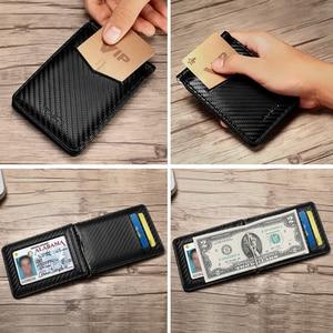 Image 5 - NewBring 블랙 카본 화이버 머니클립 RFID 차단 면허증 신용카드 수납,