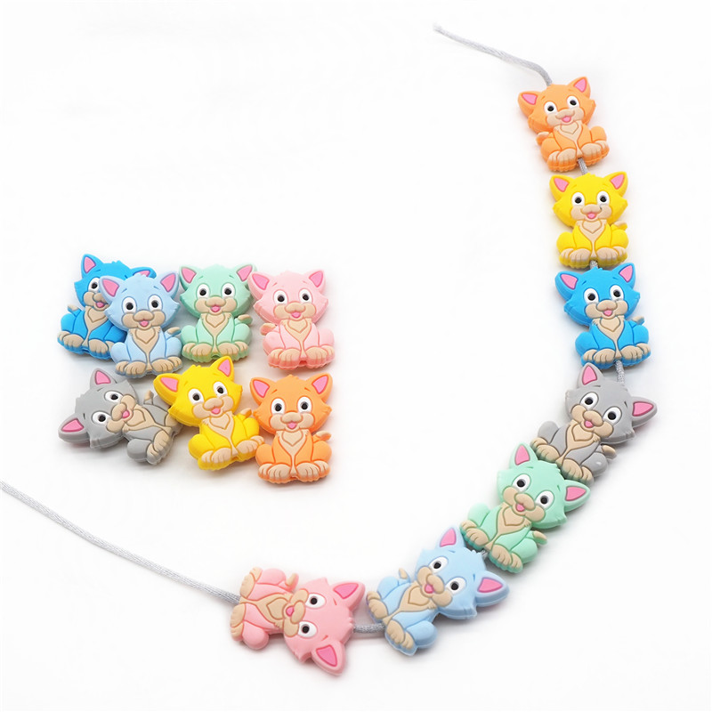 Chenkai 10PCS Silicone Cat Teether Beads DIY Kitten Teething Necklace Beads For Baby Dummy Cartoon Pacifier Toy Accessories