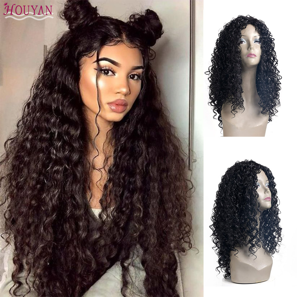 HOUYAN 22 Inches Brazilian Curly Hair Wave Deep Frontal Pre Plucked Synthetic Wig For Black Women Remy Water Wave Wig
