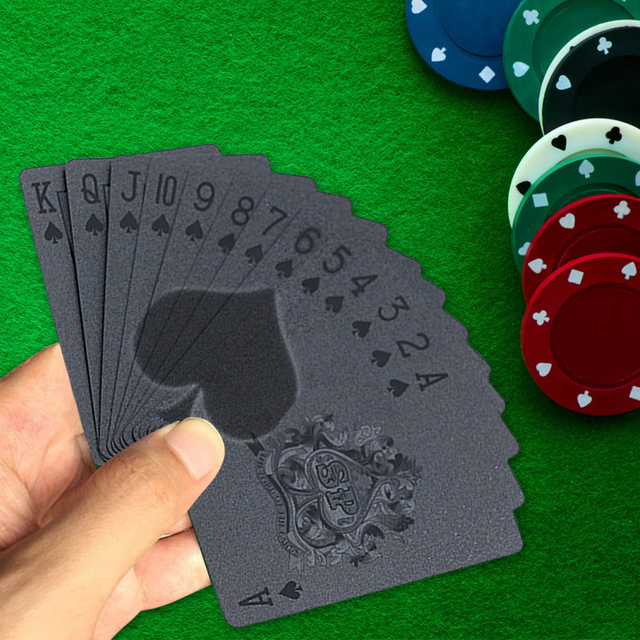 Black Waterproof And Moistureproof Poker Plastic PET Film Cool Pattern Playing Cards Novelty Collecting Board Game 2