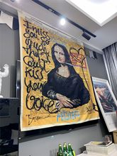 Mona Lisa Graffiti Tapestry Wall Hanging Bohemian Beach Mat Polyester Blanket Yoga Mat Home Bedroom Art