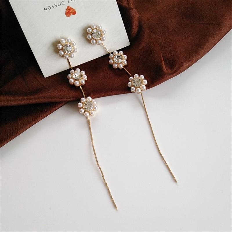 Fashion Imitation Pearl Flower Long Tassel Earrings Fashion Jewelry Korean Statement Earrings For Women