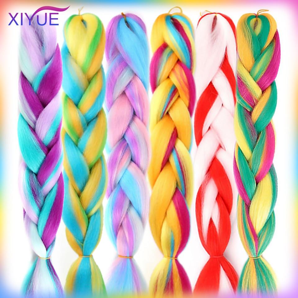 XIYUE 24 Inch Jumbo Long Braids Ombre Synthetic Braiding Hair Extensions Pink Purple Blonde Kanekalon Crochet Braids Hair