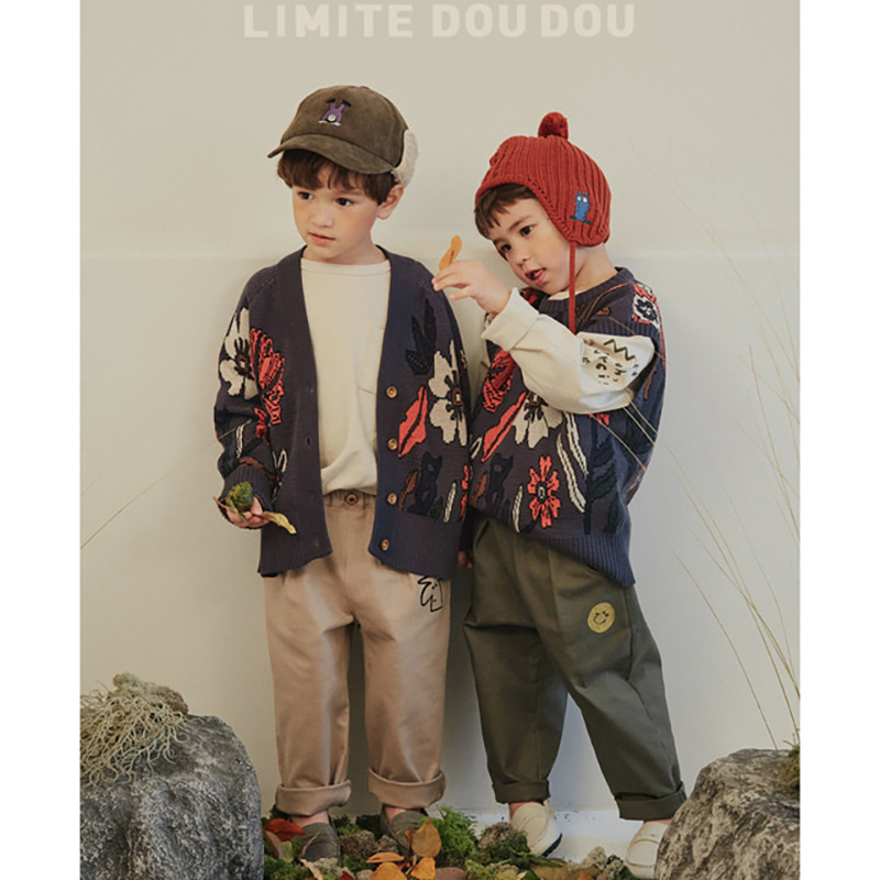 Kids Sweaters New Winter Korean Brand Boys Coat Girls Knit Print Pullover Baby Toddler Children Cotton Fashion Toddler Clothes 5
