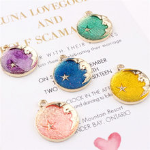 1pc/5pcs Cartoon Lovely Drop Oil Star Moon Pendant Alloy Necklaces Temperamental Jewelry Wholesale(China)