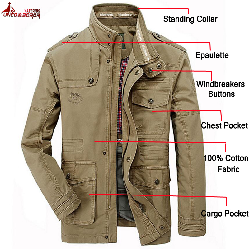 New 100% Cotton Jackets Men Military Cargo Jackets Tactical Combat Business Male Coat Pilot Bomber Jackets Men Brand Clothing