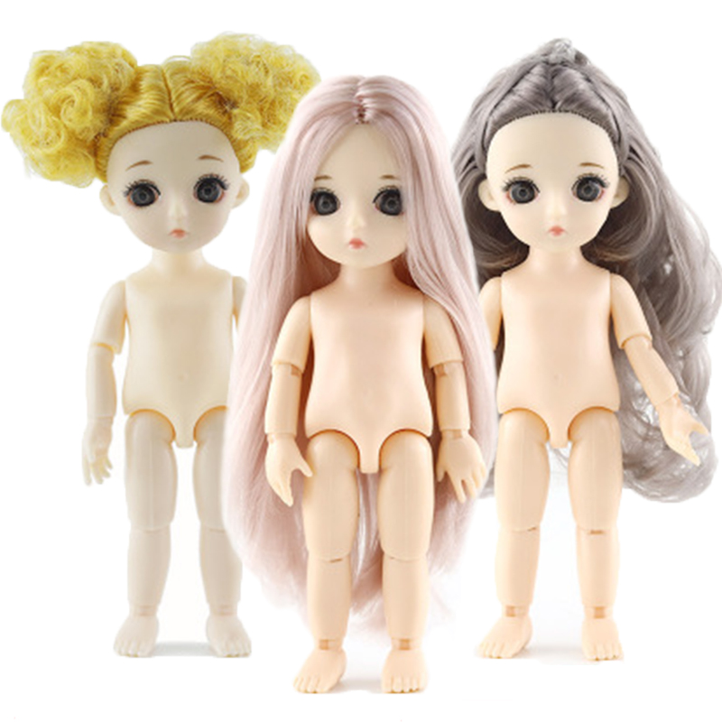 Mini 16Cm Bjd Doll 13 Joint Dolls Toys For Girls Naked Doll With Pink Yellow Brown Hair Nude Body Fashion Dolls For Girls Gift