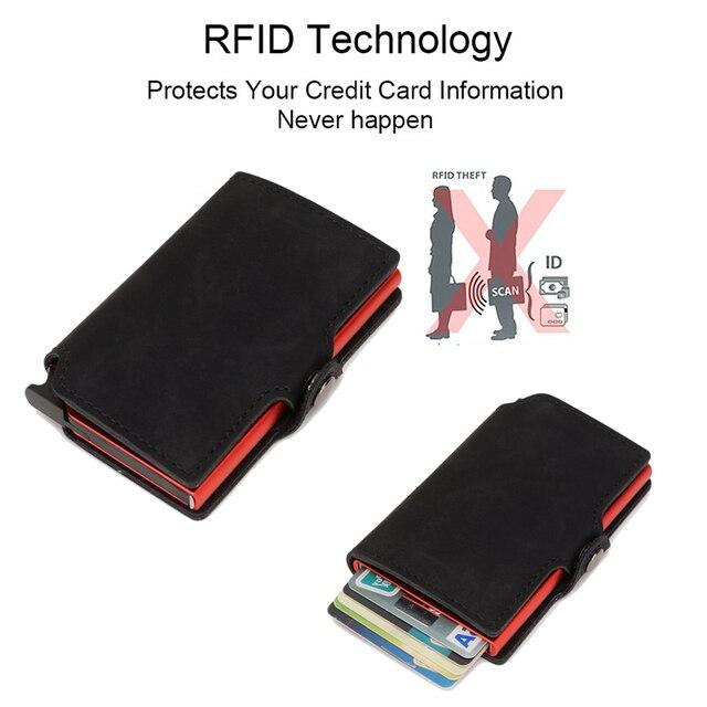 DIENQI Thin Wallet Luxury Leather Security Men Women Card Holder Wallet Ridge wallets Mini Purse Red Magic Wallet 2021 Walet 3