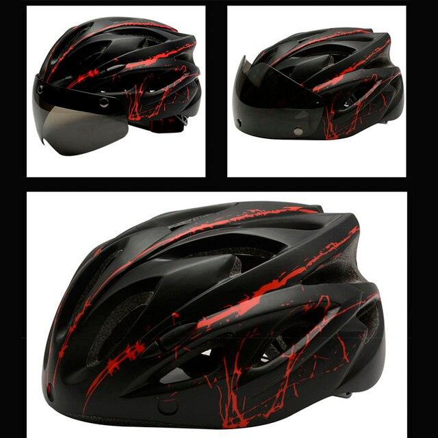 2019nova preto óculos de proteção capacete da bicicleta padrão ultraleve capacete equitação montanha estrada integralmente moldado ciclismo capacetes 3